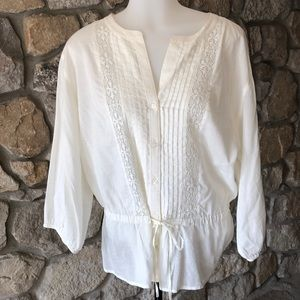3:4 sleeve off white peplum blouse